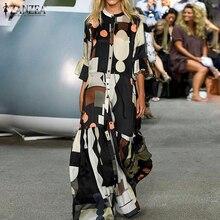 ZANZEA Summer Elegant Flare Sleeve Maxi Long Dress Women Bohemian Printed Party Sundress Casual Lace Up Ruffles Vestido Kaftan