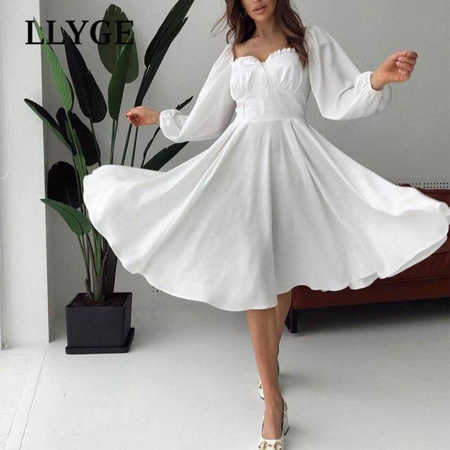 Elegant Spring White Women's Dress Vintage High Waist Puff Long Sleeve Female Dresses 2021 Spring Fashion Office Ladies Vestidos 5