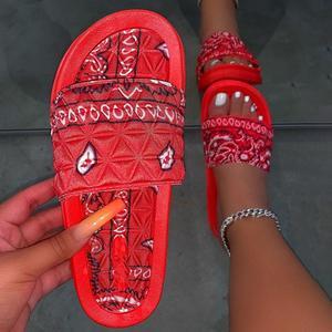 Women's Comfy Bandana Slip-On Slippers Slide Indoor Outdoor Flip-flops Beach Shoes Summer Toe Flip Flops Non-Slip