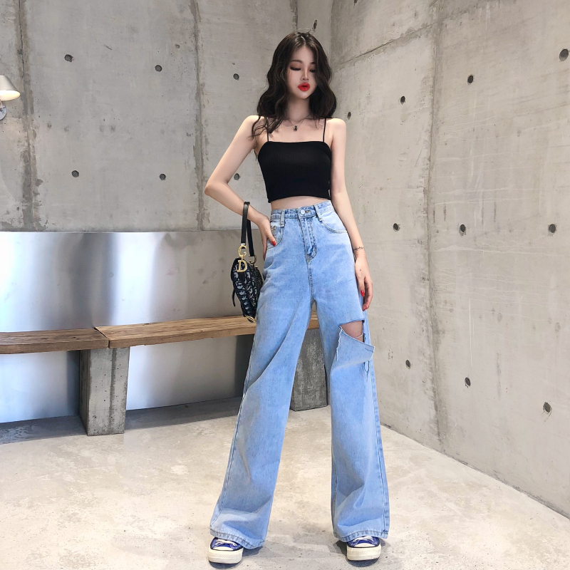 2020 New Women Wide-Legged Denim Pants Autumn High Waist Flare Jeans With Holes Office Lady Elegant Trousers Female Wholesale