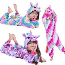 Pyjama-Set Sleepwear Onesie Kigurumi Girls Unicorn Flannel Winter Children Animal