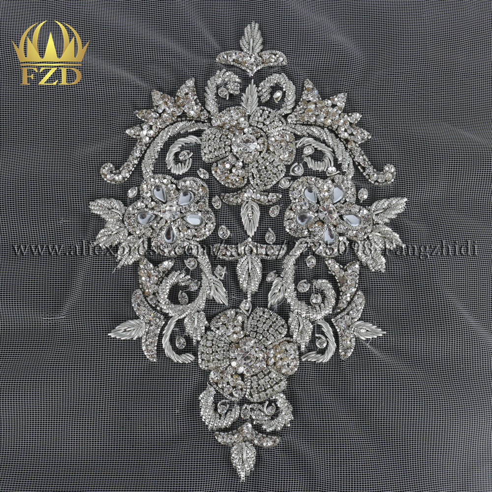 FZD Handmade Elegant Clear Crystal Stone Patches Crystal with white mesh for Wedding Dresses, DIY Craft Decorative Garments