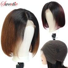 סוויטי 13x4 קצר בוב תחרה מול שיער טבעי פאה 150% גורל שיער טבעי פאות 1b/99J 1b/30 1b/350 ברזילאי ישר רמי שיער
