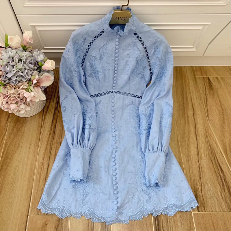 Red RoosaRosee Designer Autumn Women Vacation Linen Dress Fashion Stand Collar Long Sleeve Cloth Button Elegant Embroidery Dress