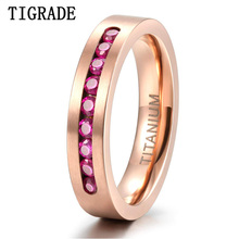 TIGRADE Rose Gold Titanium Ring For Women 4mm Party Wedding Band Cubic Zirconia Inlay Female bague femme Men 8mm for Couple