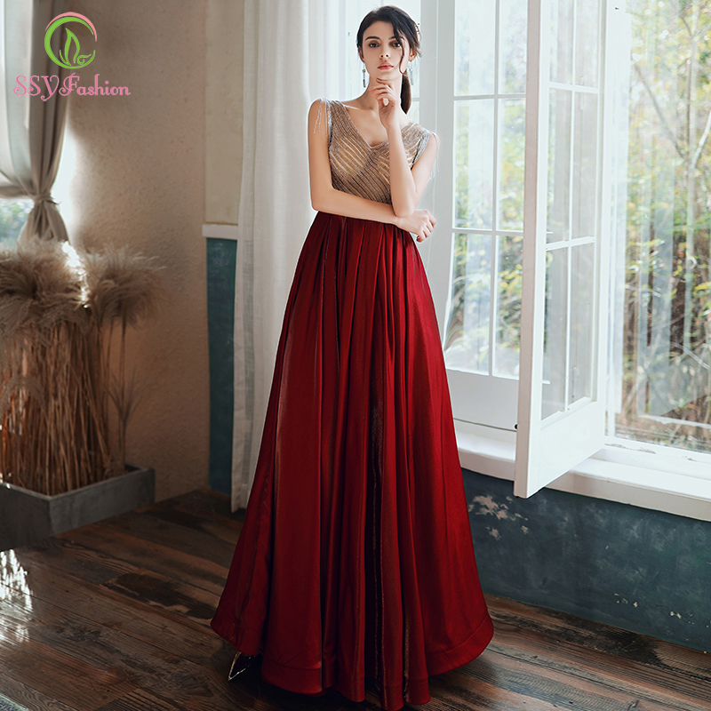 SSYFashion New Luxury Sequins Evening Dress Banquet Elegant Red V-neck Floor-length Long Prom Frormal Gowns Vestido De Noche
