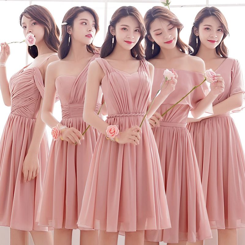 Pink Blush Dress Long Party Dress For Wedding Woman Elegant Short Bridesmaid Dresses Tea Length Lace Up Chiffon Dress Gala Gowns