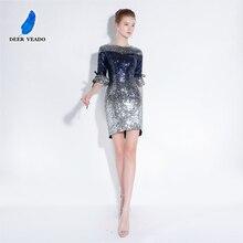 DEERVEADO YS430B сексуальные мини короткие платья для выпускного вечера новые дизайнерские вечерние платья для выпускного вечера с блестками женские вечерние платья полупальто