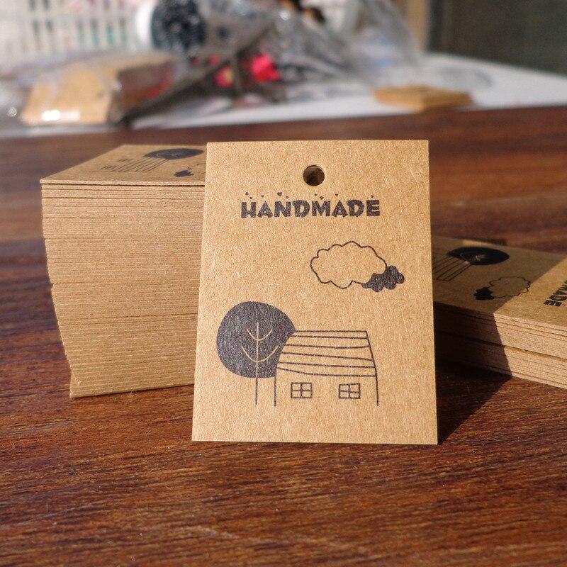 100pcs 3x4cm Handmade Kraft Paper Tags DIY Gift Decorating Hang Tags Wedding Party Price Tags Label Garment Tags