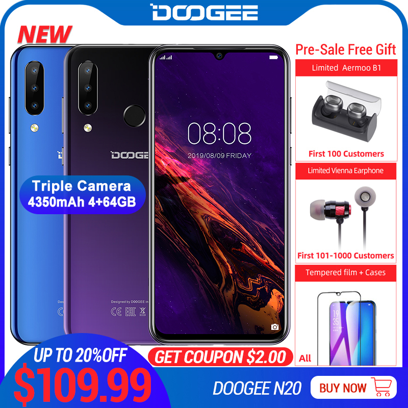 Image 1 - DOOGEE N20 Mobilephone Fingerprint 6.3inch FHD+ Display 16MP Triple Back Camera 64GB 4GB MT6763 Octa Core 4350mAh Cellphone LTE-in Cellphones from Cellphones & Telecommunications