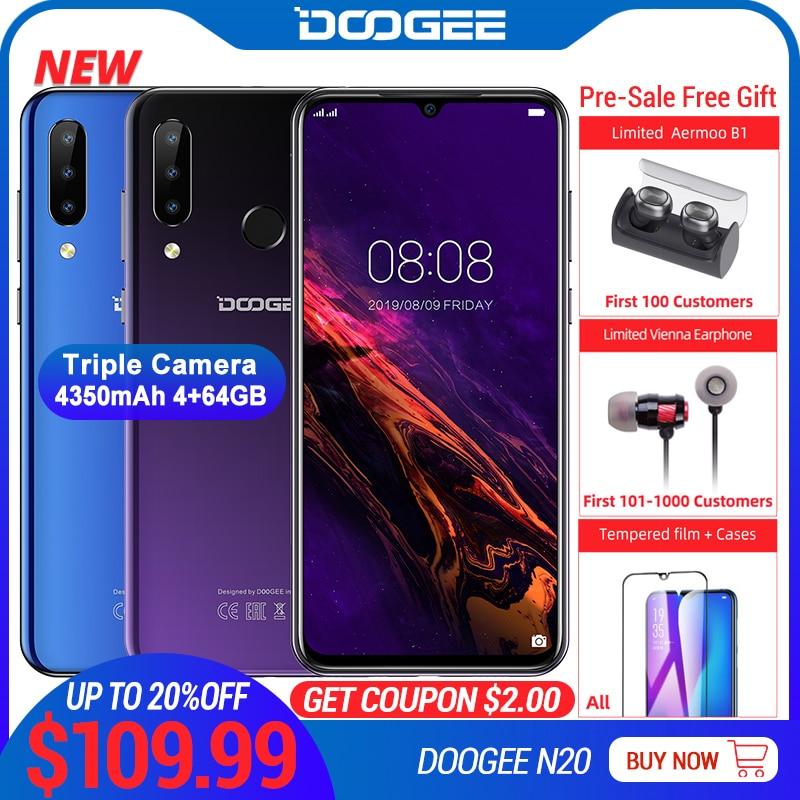 DOOGEE N20 Mobilephone Fingerprint 6.3inch FHD+ Display 16MP Triple Back Camera 64GB 4GB MT6763 Octa Core 4350mAh Cellphone LTE-in Cellphones from Cellphones & Telecommunications