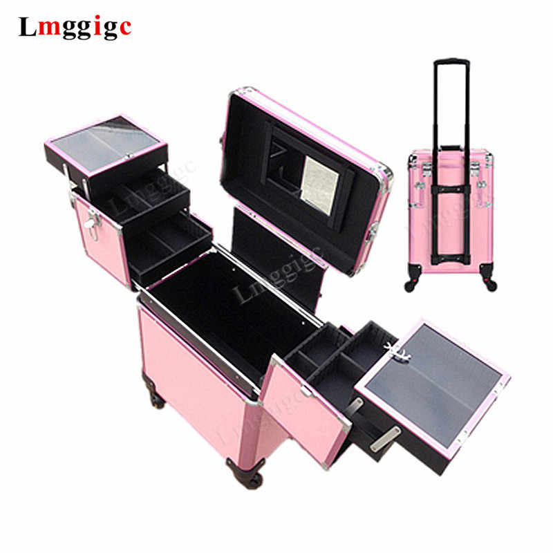 Nails Makeup Suitcase with Rolling, Beauty Toolbox ,Cabin Cosmetic Bags,Travel Box ,Trolley Case with Wheel