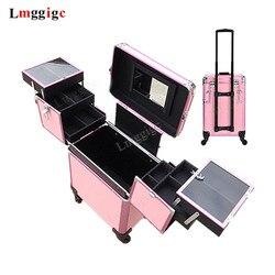 Nägel Make-Up Koffer mit Roll, Schönheit Toolbox, Kabine Kosmetik Taschen, Reise Box, Trolley mit Rad