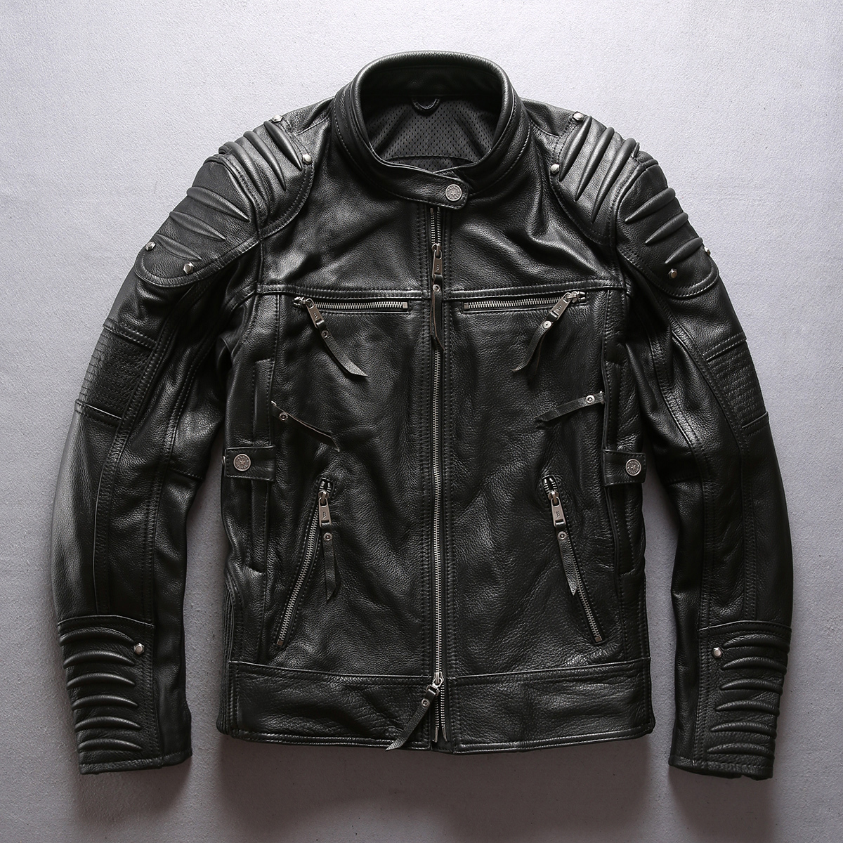2020 fashion brand men's Professional Motorcycle stand collar Cow Leather coat Men moto biker Jacket male
