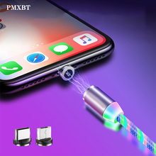 Magnetic USB Cable LED Flowing Glowing lighting For iphone Xiaomi Micro Type C Phone Fast Charge Colorful Luminous Wire Cord