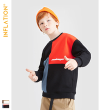 INFLATION Boys Thin Sweatshirt 2019 Autumn Children Kids Outerwear Patchwork Loose Fit 19537A