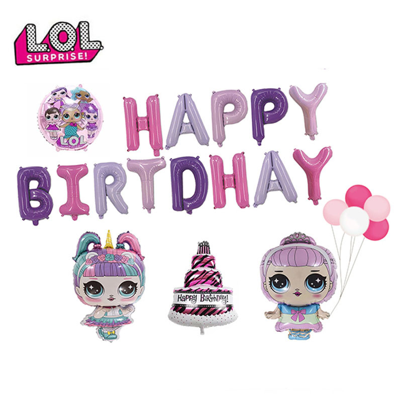 Lol surpresa boneca feliz aniversário balão festa de aniversário conjunto balão de balão decoração da festa de aniversário balão de alumínio para a criança