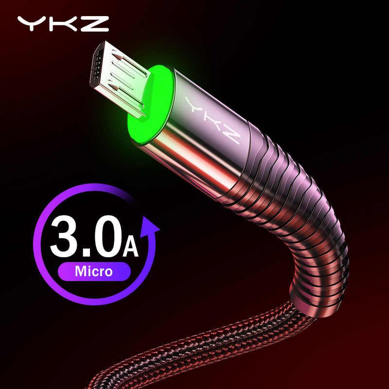 YKZ 3A LED Cable Micro USB de carga rápida cargador Micro USB Cable de la fecha Cable para Samsung Huawei Xiaomi Cable de teléfono móvil Android