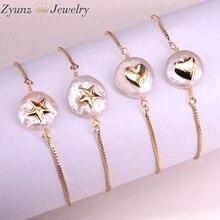 10 Uds., perla de agua dulce Natural con pulsera cz forma de estrella y corazón pulsera de perlas ajustable encanto pulsera de oro de joyería