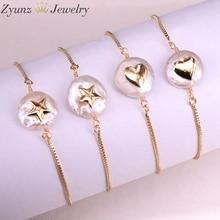 10 sztuk, naturalna perła słodkowodna z bransoletka z cyrkonią serce kształt gwiazdy bransoletka perłowa regulowany urok złota bransoletka biżuteria