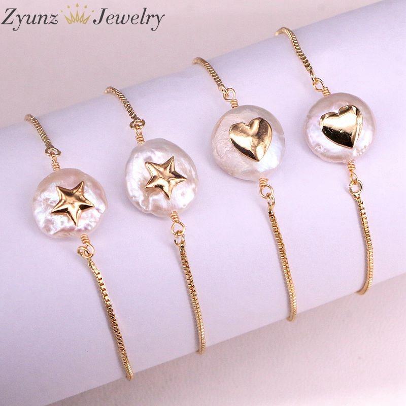 10PCS, Natural freshwater pearl with cz Bracelet heart star shape pearl Bracelet adjustable charm gold Bangle JewelryChain & Link Bracelets   -