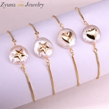 10PCS, Natural freshwater pearl with cz Bracelet heart star shape pearl Bracelet adjustable charm gold Bangle Jewelry