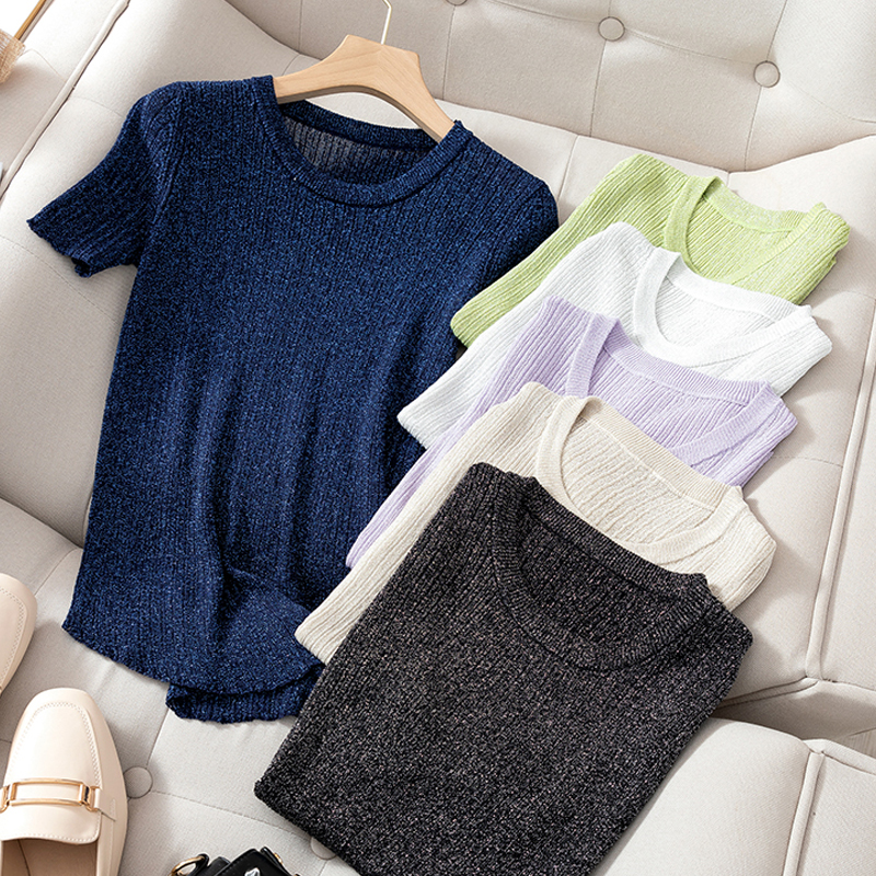 Female Knit T-shirt Women Tops 2020 Lurex Glitter Summer T Shirt For Women Black White Tshirt Short Sleeve Women T Shirts Tops