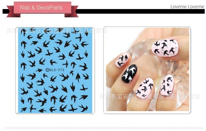 Top Form Brand Manicure Watermarking Adhesive Paper Flower Stickers Nail Sticker Water Shift Flower Stickers Dls266-273