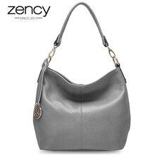 Zency Charm mor kadın omuzdan askili çanta 100% hakiki deri Hobos moda Lady Messenger Crossbody çanta zarif bayan çanta