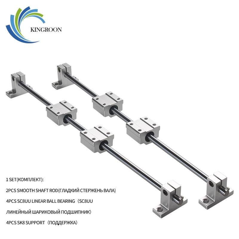 KingRoon conjunto 500 milímetros eixo Óptico linear guideway vertical SC8UU SK8 Linear Ball Bearing Linear Trilho de Suporte Do Eixo para CNC partes