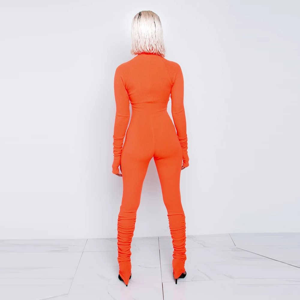 KGFIGU, mono naranja soleado cálido para mujer, conjuntos de manga larga con cremallera frontal para mujer, trajes acanalados casuales, gran calidad, gran elasticidad