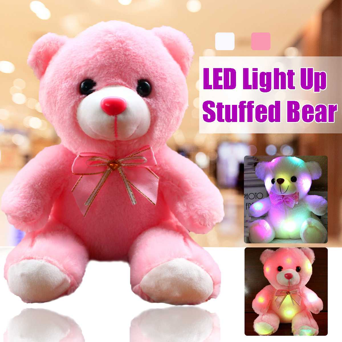 LED Colorful Glowing Luminous Plush Baby 22CM Toys Lighting Stuffed <font><b>Bear</b></font> <font><b>Teddy</b></font> <font><b>Bear</b></font> Lovely Gifts for Kids and Girlfriend image
