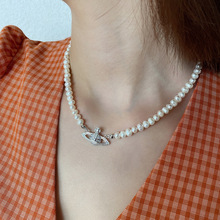 LATS Planet Pearl Short Necklace 925 Sterling Silver Jewelry Niche Ins Style Luxury Choker Necklace for Women Birthday Gift