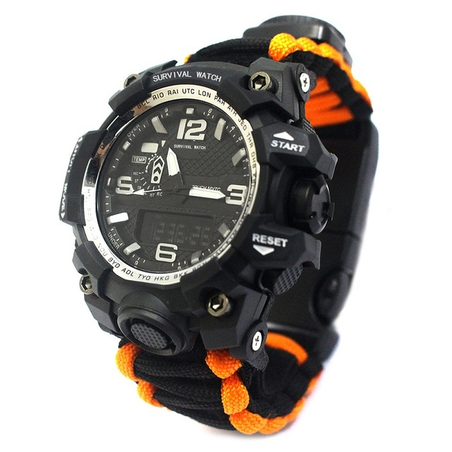 Outdoor Camping Survival Watch Multi-functional Paracord Watch with Compass Whistle Thermometer Rescue Rope Survival kit EDC | Fotoflaco.net