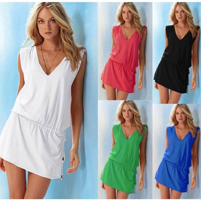 Summer beach dress women clothing 2021 Elasticity Casual V-neck Women Party Dress Sexy Mini dresses One Size 1