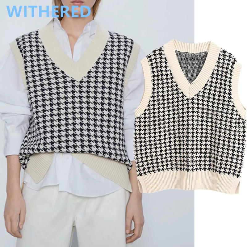 Withered England Style Vintage Plaid Houndstooth Sleeveless Loose Vest Sweaters Women Pull Femme Sweaters Women Pullovers Tops
