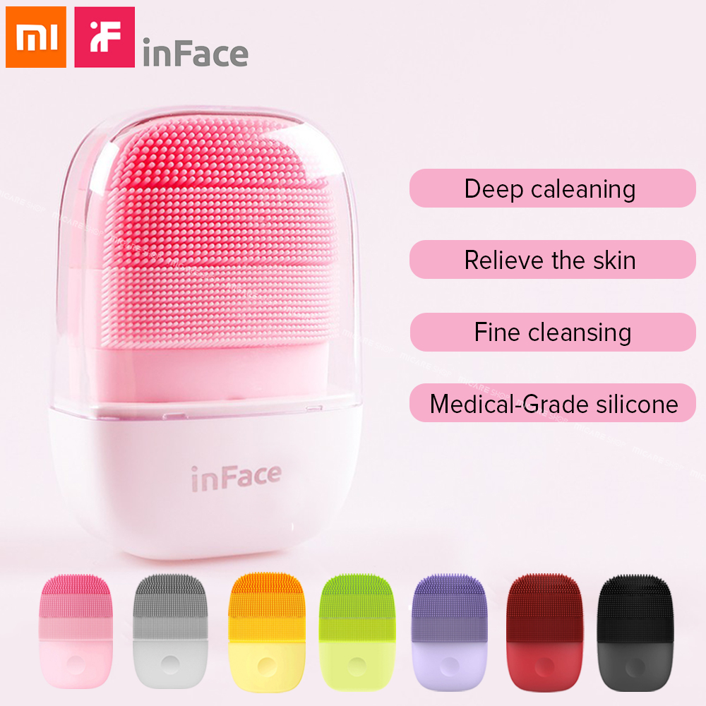 Xiaomi Inface Sonic Electric Facial Clean Brush Mijia Smart Waterproof Silicone Massage Detergent Facial Cleanser Rechargeable