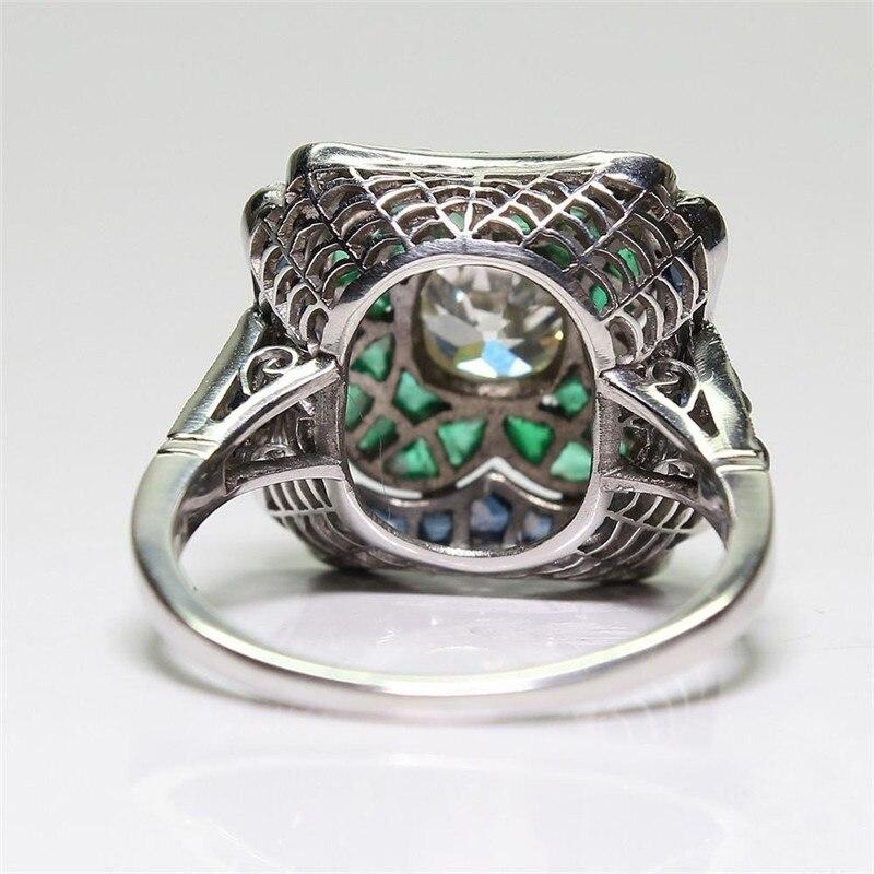 FDLK античный Арт Деко сплав 2CT синий кристалл и 1.30CT зеленые Стразы Цветочные обручальное коктейльное кольцо