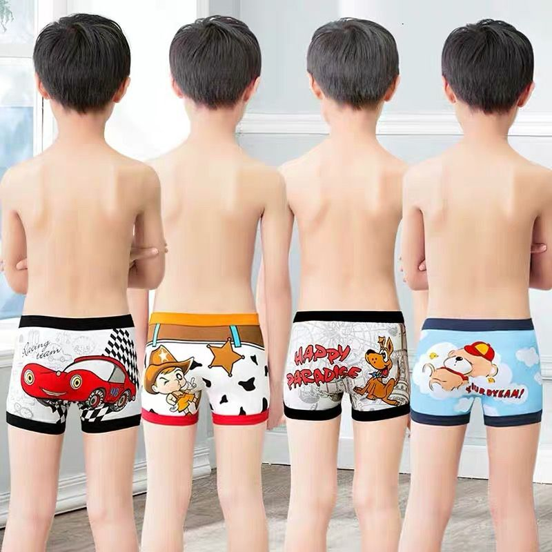 6pcs/lot Kids  Underpants Baby's Cute Cartoon Ventilate Underwear Boxer Boys Pure Cotton Soft Boxers 2-10Y