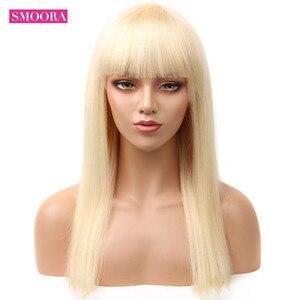 Image 3 - Smoora 브라질 스트레이트 중간 부분 레이스 프런트 인간의 머리가 발 613 금발 레미 투명 레이스 정면 가발 Pre Plucked 150%