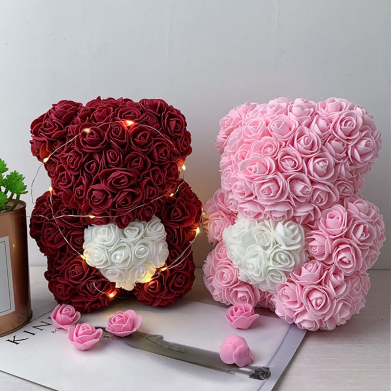 2020 Rose Teddy Bear With Heart Forever Artificial Rose Anniversary Christmas Girl Gifts Valentines Romantic Gift Box
