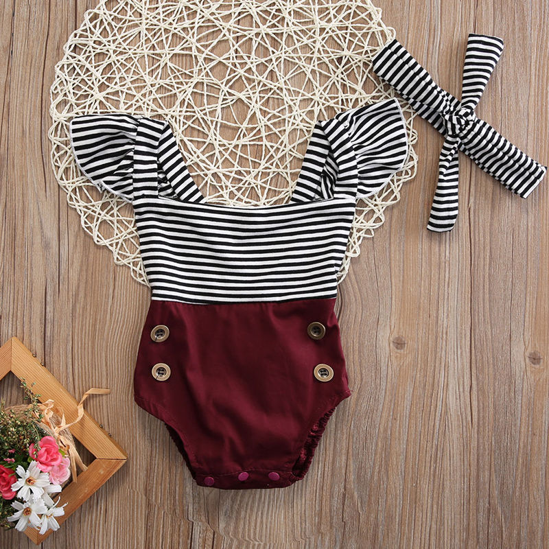 New 0-18M  Newborn Baby Girls Jumpsuits Kids Girl Sleeveless Striped Romper Infant Clothes Outfit Set Sunsut