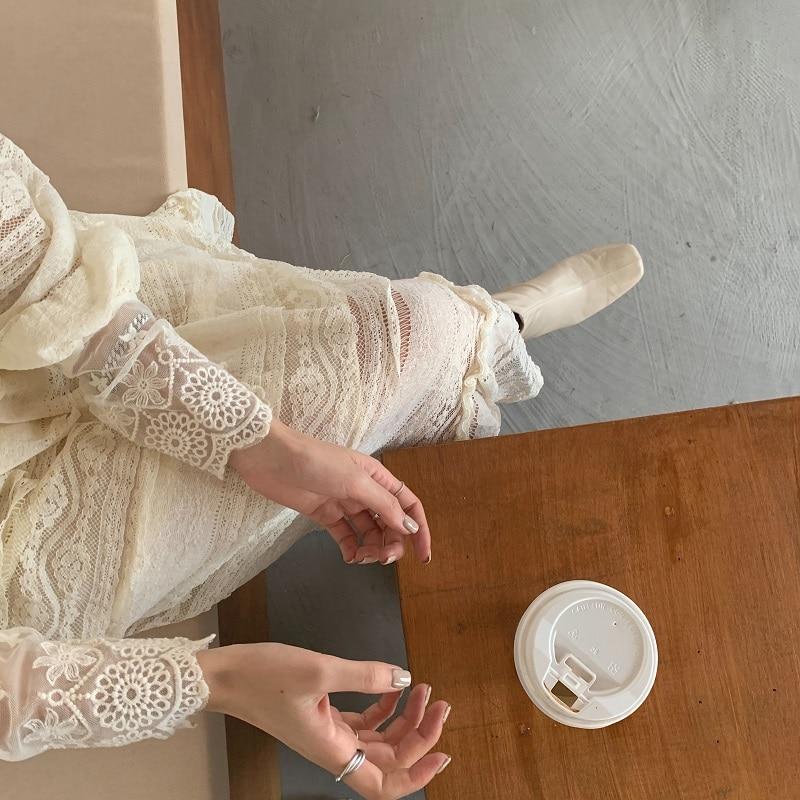 H4e50979087364faa9c9124b2806d0c33f - Spring V-Neck Long Sleeves Long Lace Midi Dress