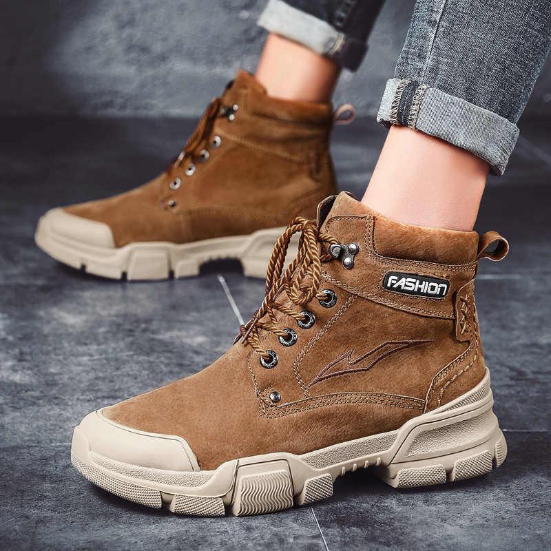 หนังวัวแท้หนังฤดูหนาวทหารรองเท้าร้อนทหารทำงานรองเท้าผู้ชายข้อเท้ารองเท้า Plush Army เดินป่ารองเท้า