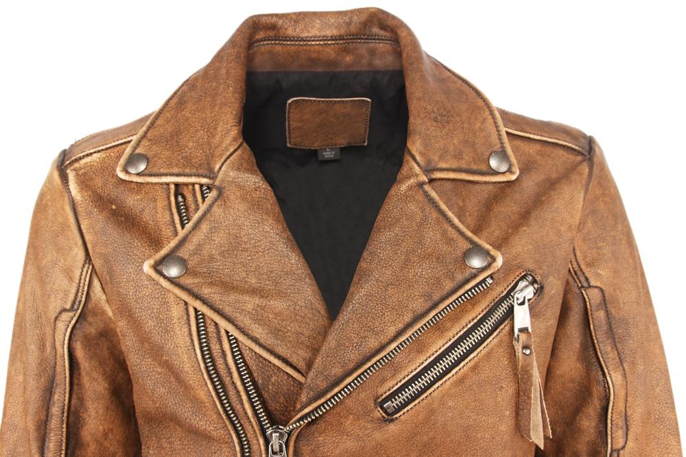 Vintage Motorcycle Jacket Slim Fit Thick Men Leather Jacket 100% Cowhide Moto Biker Jacket Man Leather Coat Winter Warm M455