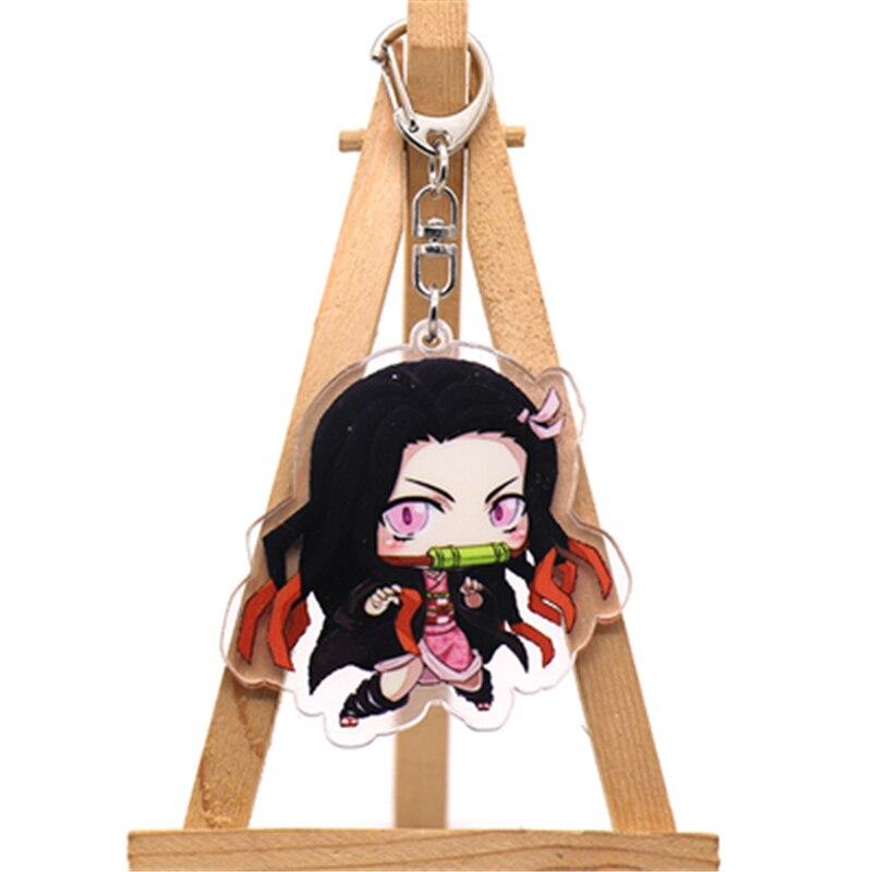 Аниме демон убийца Kimetsu no Yaiba Kamado Tanjirou косплей реквизит брелок Kamado Nezuko акрил прекрасная цепочка для ключа брелок - Цвет: style7