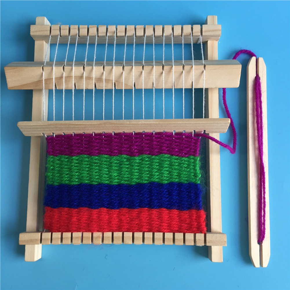 Kids Children Intelligence Develop Weaving Machine With Accessories Traditional Loom Hand Knitting Toy Wooden Cultivate Patience