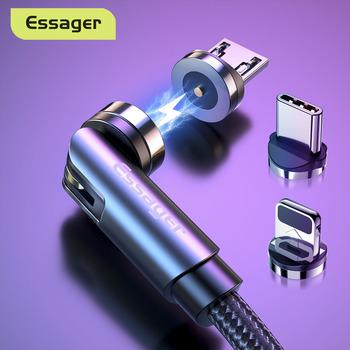 Essager obróć kabel magnetyczny 360 stopni rodzaj USB C kabel ładujący szybkie ładowanie magnetyczna ładowarka 540 obróć mikro kabel magnetyczny tanie i dobre opinie LIGHTNING Micro Usb TYPE-C 2 4A CN (pochodzenie) USB A Magnetyczne Gray Red 1M 2M 360 Degree Rotate Round Magnetic Cable