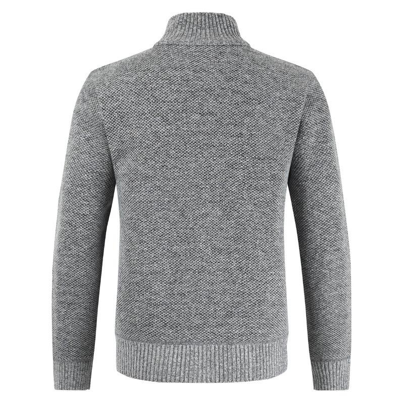 OLOEY Sweater Men Open Stitch Sweater Men Casual Simple Style Retro Advanced Standing Collar Knitted High Quality Tops Autumn