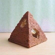 1 pçs peixe e camarão hashing casa simulação pirâmide egípcia resina artesanato aquário paisagem decoração casa de camarão